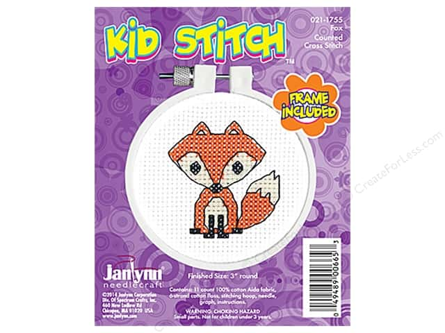 Janlynn Kid Stitch Cross Stitch Kit 3 in. Fox