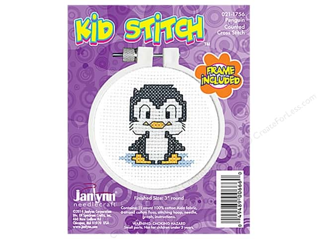 Janlynn Kid Stitch Cross Stitch Kit 3 in. Penguin