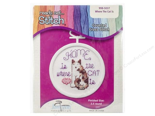 Janlynn Kid Stitch Cross Stitch Kit 2 1/2 in. Where The Cat Is