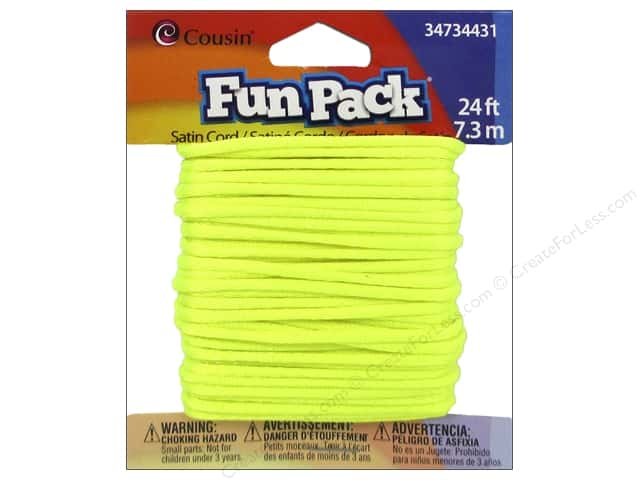 Cousin Fun Pack Satin Cord Neon Yellow