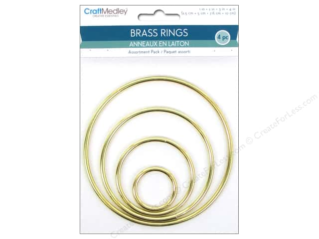 Craft Medley Brass Ring Assortment Pack 4 pc.