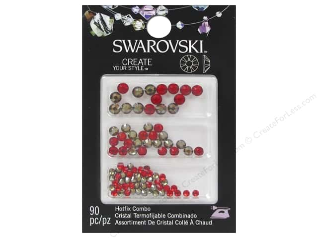 Cousin Swarovski Hotfix Rhinestones Mix 90 pc. Jonquil Satin/Light Siam
