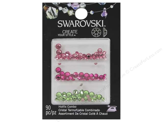 Cousin Swarovski Hotfix Rhinestones Mix 90 pc. Pink/Green