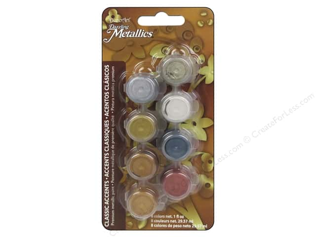 DecoArt Dazzling Metallics Paint Pot 8-Color Classic