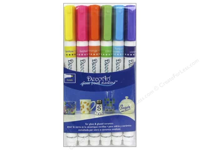 DecoArt Glass Paint Marker Brights 1mm
