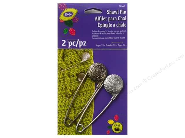 LoRan /Dritz Shawl Pin Metal Vintage Flower Pewter/Nickel 2pc