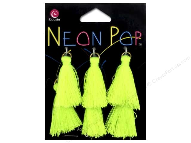 Cousin Neon Pop Collection Tassels Nylon Yellow 6pc