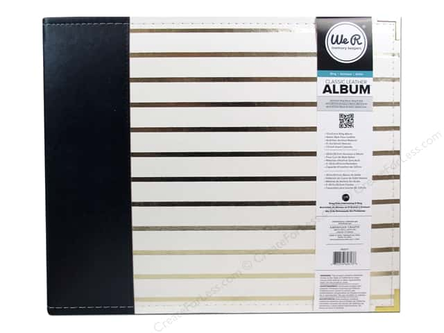 We R Memory Keepers 3-Ring Album 12 x 12 in. Classic Leather Navy with Gold Stripes