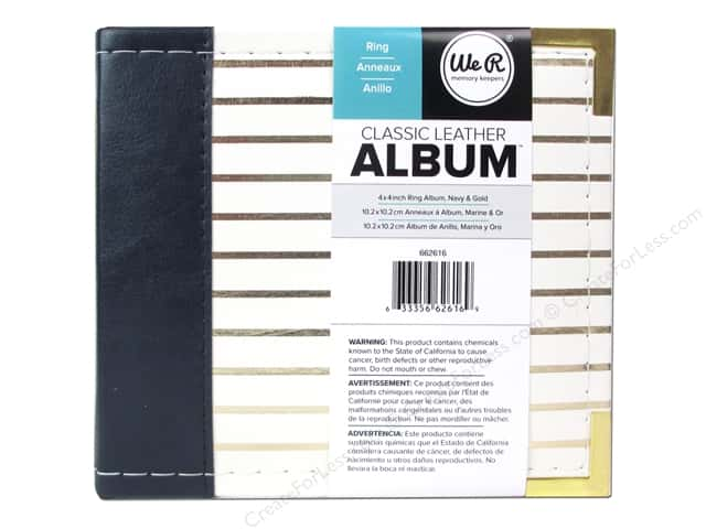 We R Memory Keepers 2-Ring Album 4 x 4 in. Navy with Gold Stripes