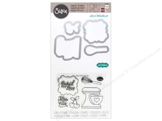 Sizzix Framelits Die Set 4PK with Stamps Baked with Love by Lori Whitlock