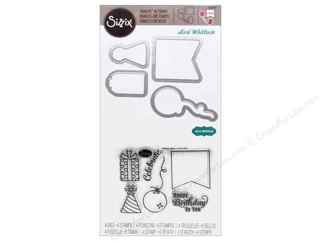 Sizzix Framelits Die Set 4PK w/Stamps Happy Birthday to You by Lori Whitlock