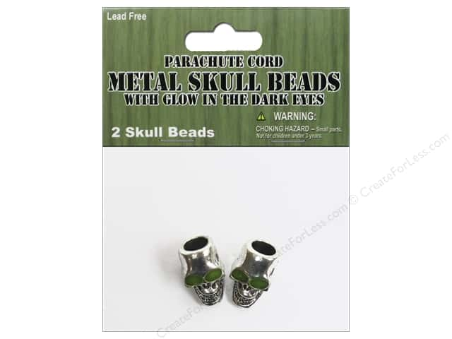 Pepperell Parachute Cord Accessories Skull Bead Glow Eyes 2pc