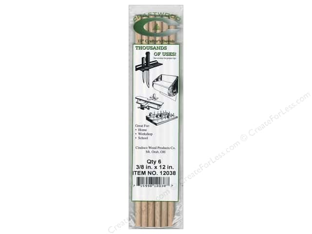 Cindoco Wood Dowels 12 x 3/8 in. 6 pc.
