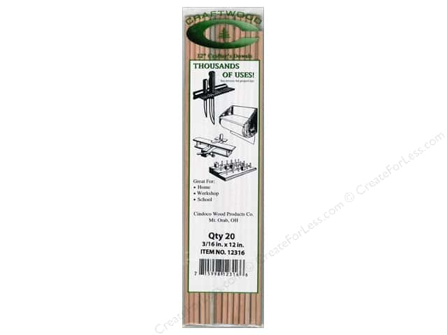 Cindoco Wood Dowels 12 x 3/16 in. 20 pc.