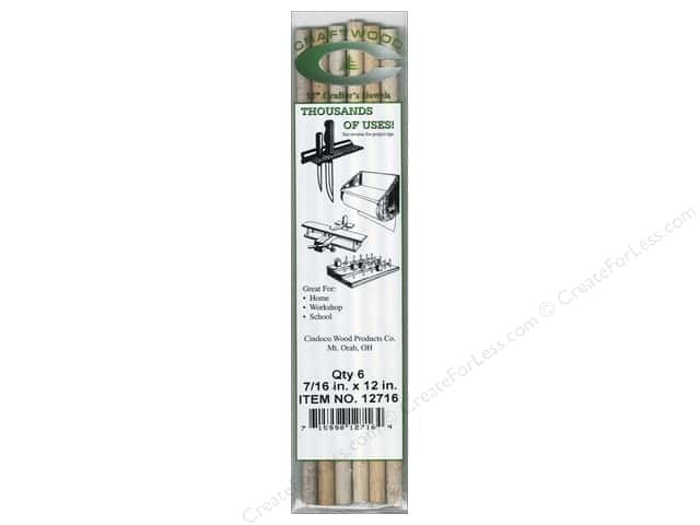 Cindoco Wood Dowels 12 x 7/16 in. 6 pc.