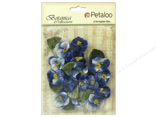 Petaloo Botanica Collection Velvet Pansies Royal Blue