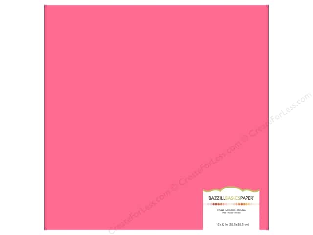 Bazzill Self Adhesive Foam Sheets 12 x 12 in. Pink (15 sheets)