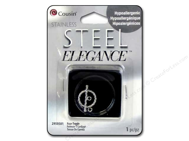 Cousin Elegance Toggle Clasp 4 x 19 mm 1 pc. Rope Stainless Steel