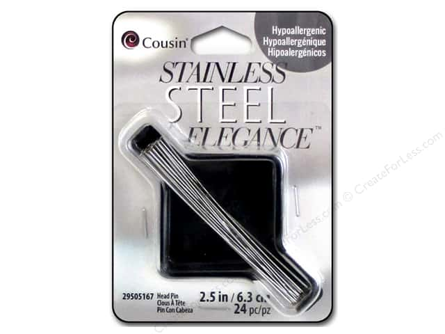 Cousin Elegance Head Pins 2 1/2 in. 24 pc. Stainless Steel