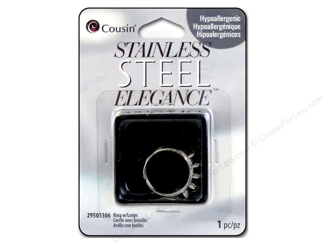 Cousin Elegance Ring 1 pc. Stainless Steel Ring with Loops