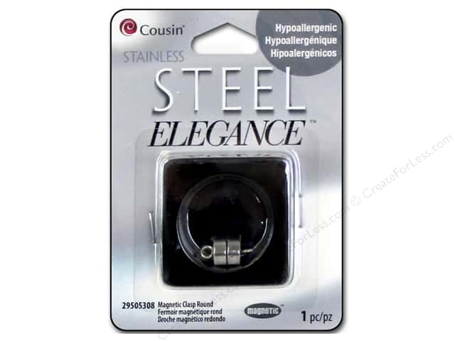Cousin Elegance Metal Magnetic Round Clasp 15 x 8 mm 1 pc. Stainless Steel
