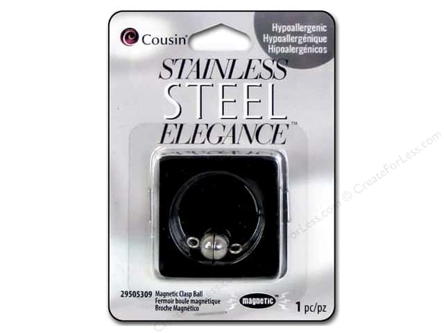 Cousin Elegance Metal Magnetic Ball Clasp 16 x 8 mm 1 pc. Stainless Steel