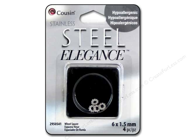 Cousin Elegance Spacer Bead 6 mm x 1.5 mm 4 pc. Stainless Steel Wheel