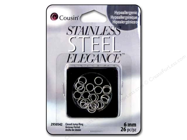 Cousin Elegance Metal Closed Jump Ring 6 mm 26 pc. Stainless Steel