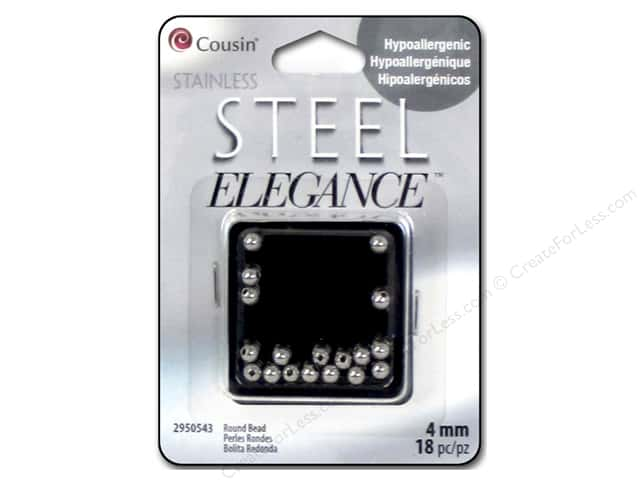 Cousin Elegance Metal Bead 4 mm Round 18 pc. Stainless Steel