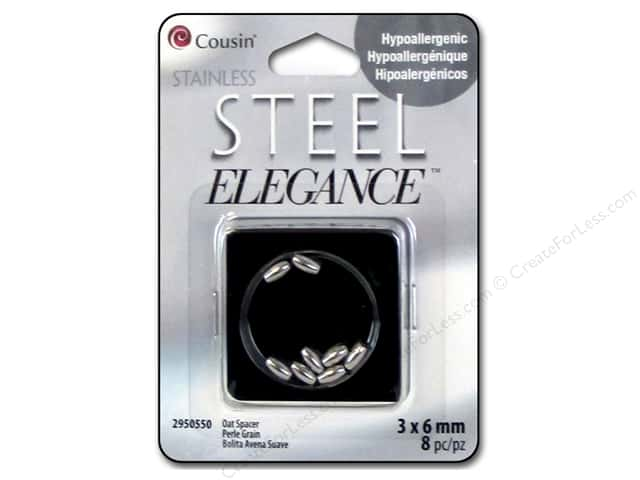 Cousin Elegance Spacer Bead 3 mm x 6 mm 8 pc. Stainless Steel Oat