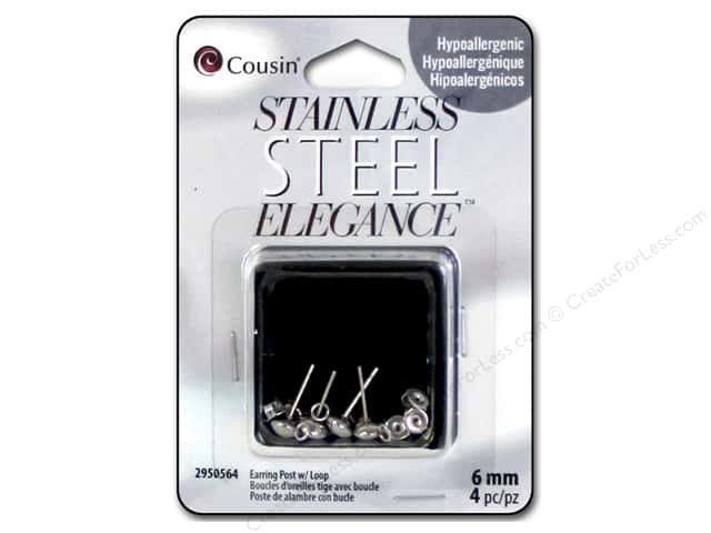 Cousin Elegance Metal Earring Post 6 mm 4 pc. Stainless Steel
