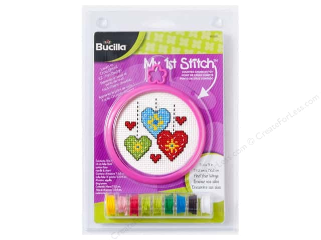 Bucilla Counted Cross Stitch Kit 3 in. My 1st Stitch Hearts
