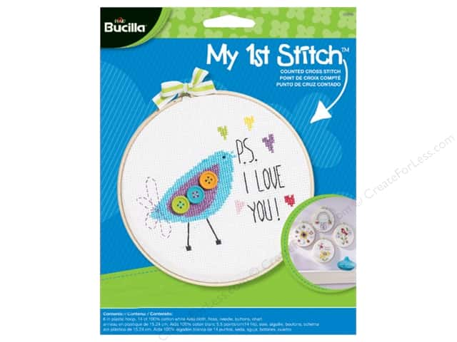 Bucilla Counted Cross Stitch Kit 6 in. My 1st Stitch PS I Love You