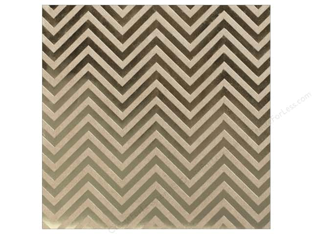 "Bazzill Paper 12""x 12"" Kraft With Gold Foil Chevron (15 sheets)"