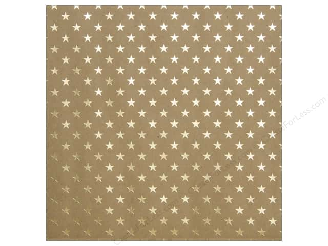 "Bazzill Paper 12""x 12"" Kraft With Gold Foil Stars (15 sheets)"