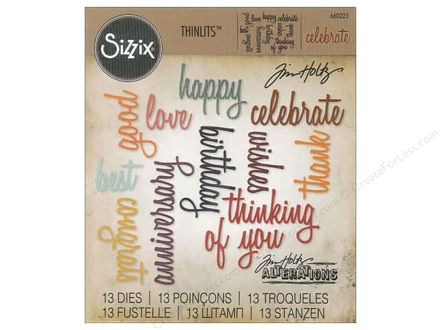 Sizzix Thinlits Die Set 13 pc. Celebration Words: Script
