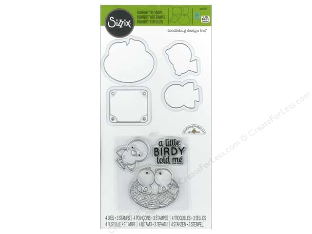 Sizzix Framelits Dies With Stamp A Little Birdy Told Me by Doodlebug