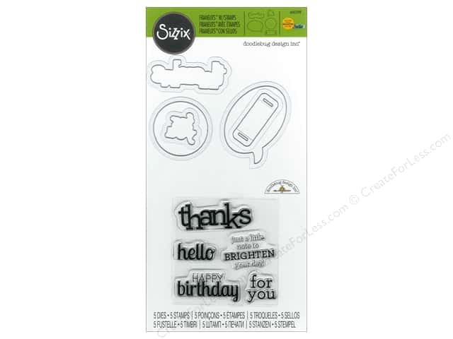 Sizzix Framelits Die Stamp Birthday, Hello & Thanks by Doodlebug