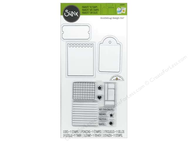 Sizzix Framelits Die Stamp Notebook Paper, Tag & Ticket by Doodlebug