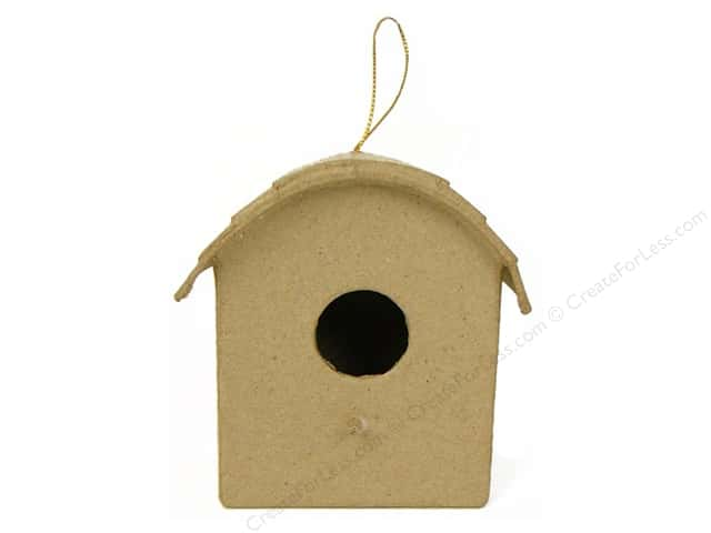 Paper Mache Birdhouse Ornament Round Roof by Craft Pedlars