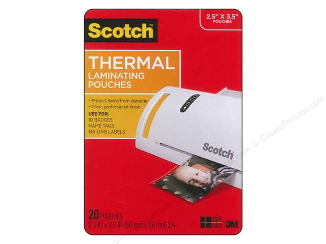 "Scotch Laminating Pouch Thermal Wallet 2.5""x 3.8"" 20pc"