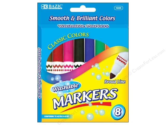 Bazic Basics Markers 8 pc. Washable Broad Classic