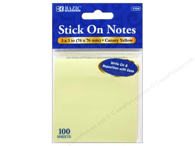 Bazic Basics Stick On Notes 3 x 3 in. Canary Yellow