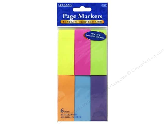 Bazic Basics Page Markers 6 pc. Neon