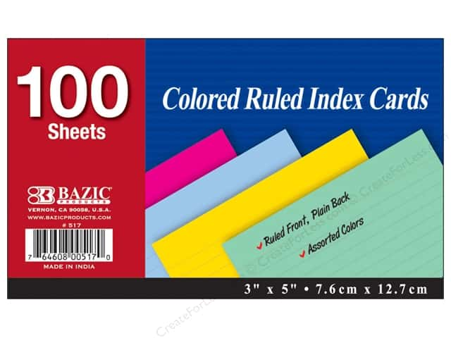 Bazic Basics Index Cards 3 x 5 in. 100 pc. Ruled Assorted