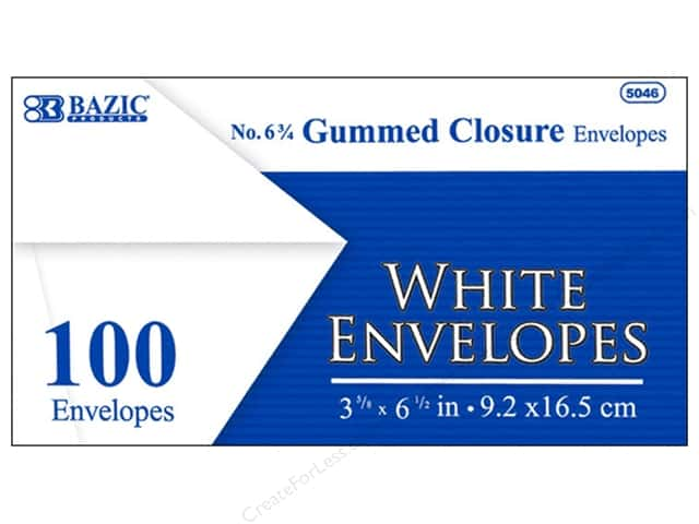 Bazic Basics #6 Envelopes 100 pc. White with Gummed Closure