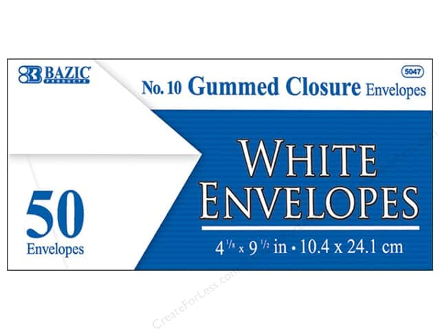 Bazic Basics #10 Envelopes 50 pc. White with Gummed Closure