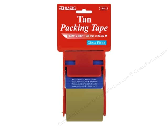 Bazic Basics Packing Tape with Dispenser 1.89 x 800 in. Tan
