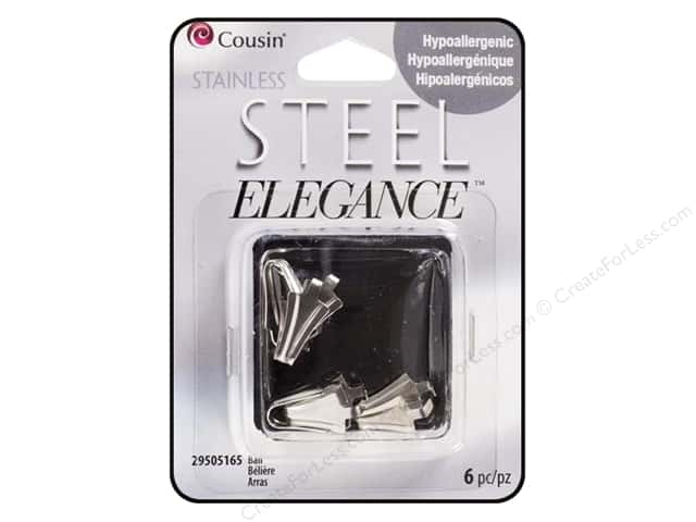 Cousin Elegance Metal Bail 16 x 8 mm 6 pc. Stainless Steel