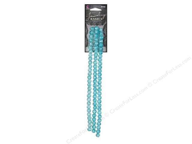 Cousin Basics Bead Strand Glass Crackle Round 6mm Teal